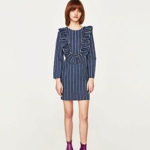 NWT Zara Striped Denim Ruffle Bib Frills Dress
